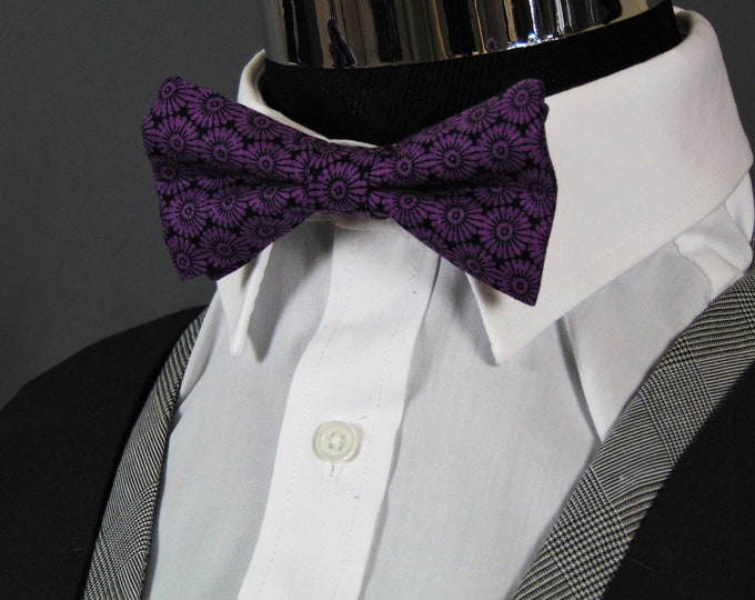Black and Purple Bow Tie – Black with Purple Pretied Floral Bowtie