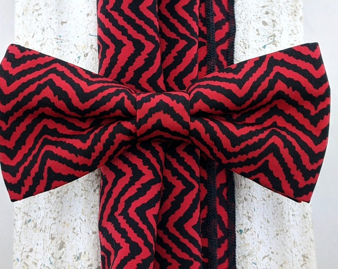 Bowtie Pocket Square Combo – Red and Black Mens or Boys Bowtie, Limited production.