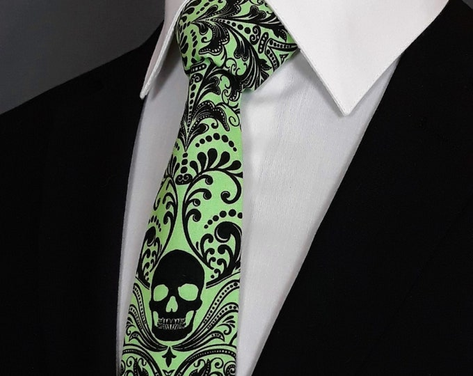 Lime Green Skull Tie – Lime Green Gothic Necktie