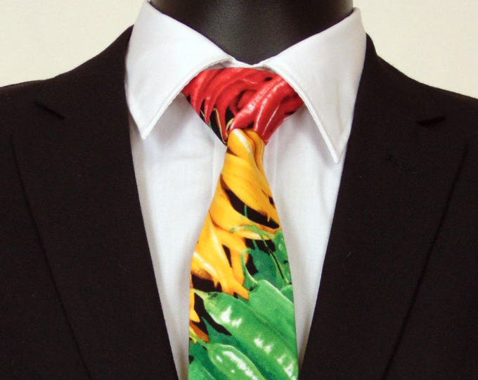 Hot Pepper Necktie, Hot Pepper Tie, Mens Necktie, Mens Tie, Red Pepper, Cinco De Mayo, Multi Colored, Fathers Day, Birthday, Gift, Yellow