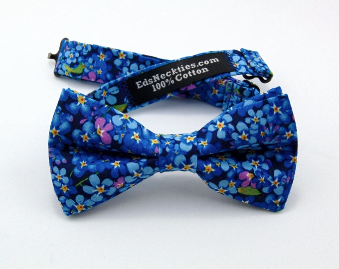 Blue Floral Bow Tie – Classic Mens or Boys Bowtie for Wedding or Everyday.
