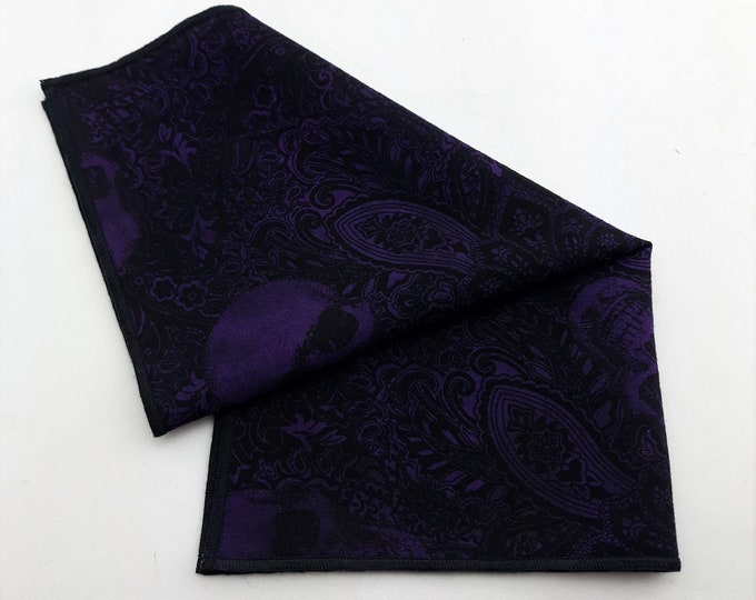 Purple Pocket Square with Skulls – Purple Skull Pocket Square Only,  Skull Necktie Not Included.