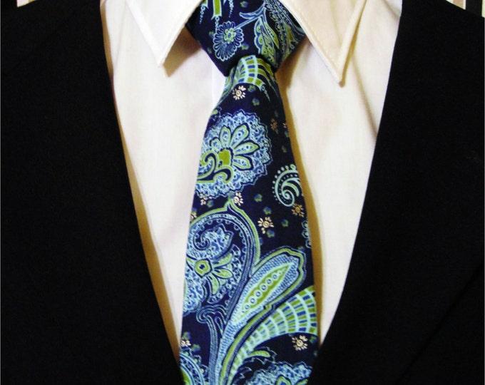 Navy Necktie, Navy Tie, Blue Necktie, Blue Tie, Green Necktie, Green Tie, Mens Necktie, Mens Tie, Paisley Necktie, Paisley Tie, Father, Dad