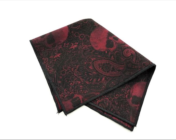 Pocket Square with Skulls – Red Skull Pocket Square Only. Skull Necktie Not Included.