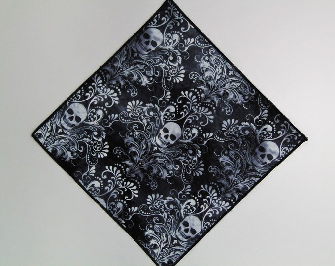 Pocket Squares – Mens Skull Pocket Square Only. Skull Necktie Not Included.