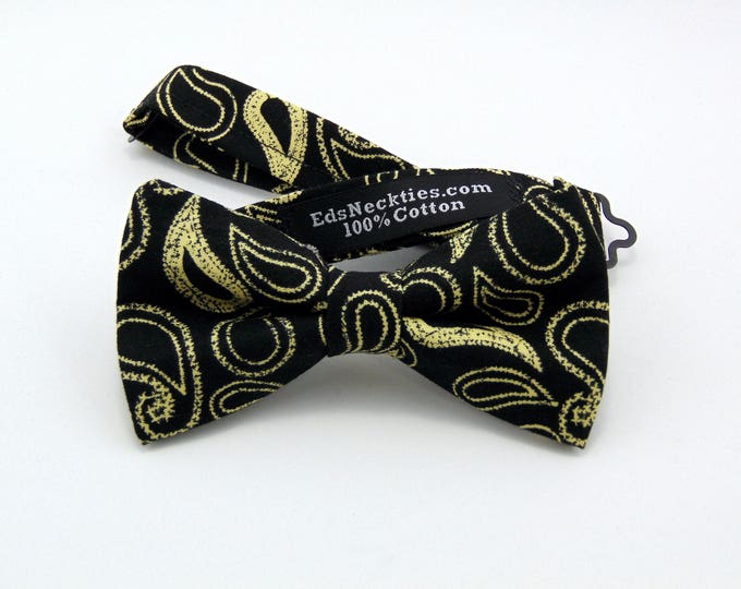 Black Bow Tie, Black Bowtie, Mens Bow Tie, Mens Bowtie, Paisley, Black, Gold, Floral, Fathers Day, Birthday, Gift, Wedding, Christmas, Dad