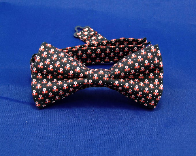Bow Ties for Men – Black Red and White Mens or Boys Pretied Bow Tie.