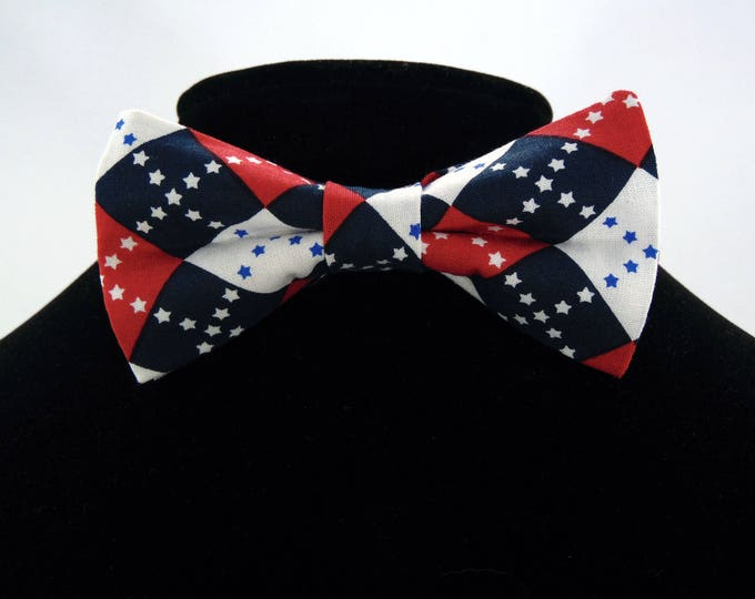4th of July Bow Tie, 4th of July Bowtie, Mens Bow Tie, Independence Day, Fathers Day, Birthday, Dad, Wedding, Prom, Red, White, Blue, Bowtie