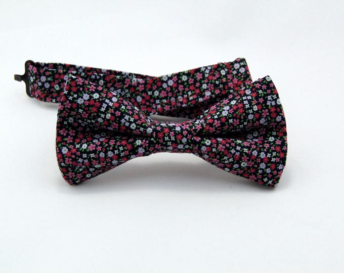 Floral Bow Tie, Floral Bowtie, Mens Bow Tie, Mens Bowtie, Black Bow Tie, Red Bow Tie, Fathers Day, Birthday, Gift, Wedding, Prom, Dad, Bride