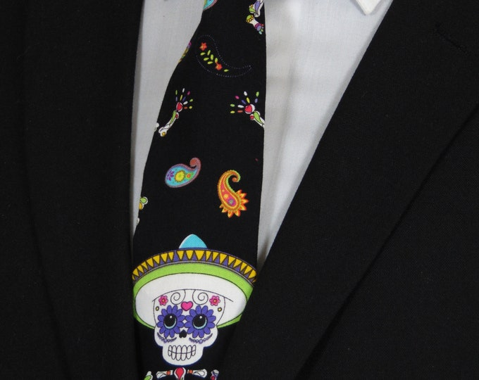 Mens Day of the Dead Ties – Dancing Sugar Skull Necktie