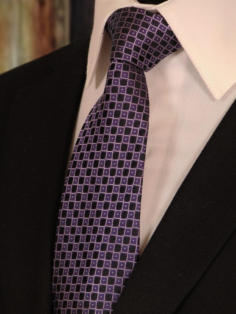 Skinny Tie Polka Dot Blue Black and Purple Patterned Handmade 100/% Silk Wedding