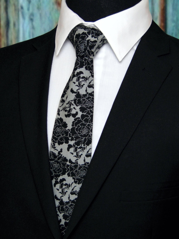 floral necktie floral tie mens necktie mens tie black necktie