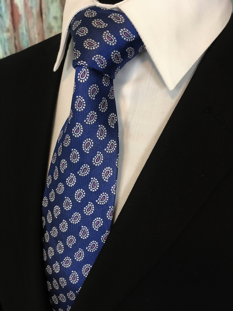 09079c84c2f39 Blue Paisley Tie Mens Blue with Small Paisley Necktie | Etsy
