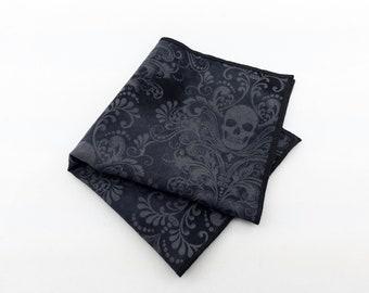 Gray Skull Pocket Square – Mens Skull Pocket Square Only. Skull Necktie Not Included.