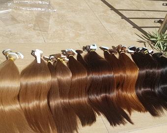 "Tape in extensions,Russian hair,Slavic hair,Luxury quality,Remy hair,hand made,Human hair ,Tape in ,22"",Long hair ,Blonde hair,Brown hair"
