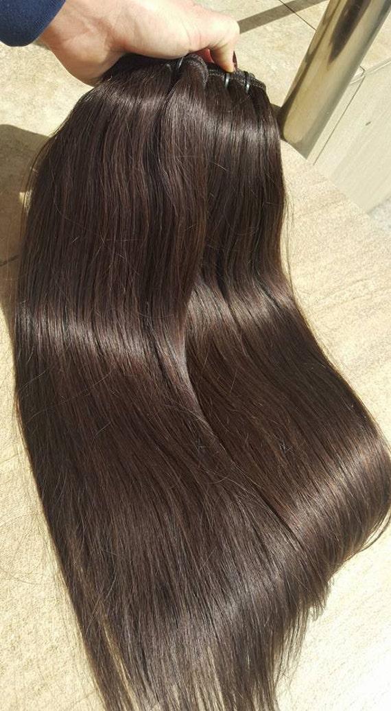 Clip In Hair Extension 22 Dark Brown Hair Extension Etsy