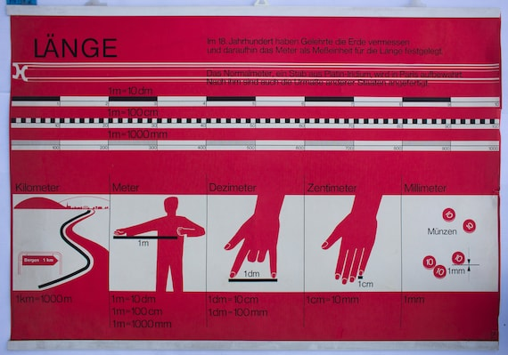 Length, wall chart, published by Offsetdruckerei Friecke & Co, 1953