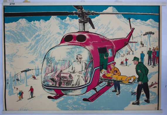 Skiing accident, Offset-print, published by Quirin Haslinger, Linz, Austria, 1964