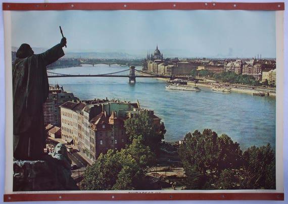 Wall Chart, Budapest, published by Herder Druck, Freiburg im Breisgau, 1962