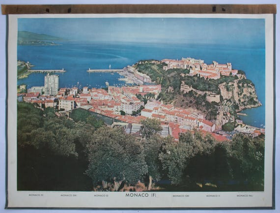 Wall Chart, Monaco, published by Herder Druck, Freiburg im Breisgau, 1962