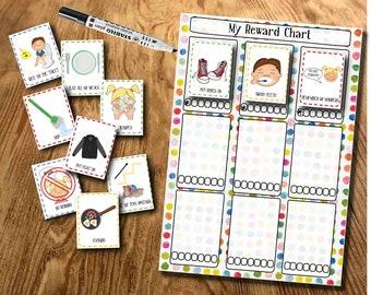 Reusable Behaviour Chart, Reward Chart, Routine Chart, DIY Reward Chart, Star Chart, Chore Chart, Printable file, Kids Planner, Boys & Girls