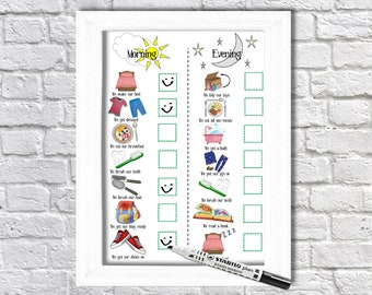 Kids, Morning and Evening, Routine Chart, printable, toddlers, visual schedule, daily checklist, family organisation, kids planner, Autism