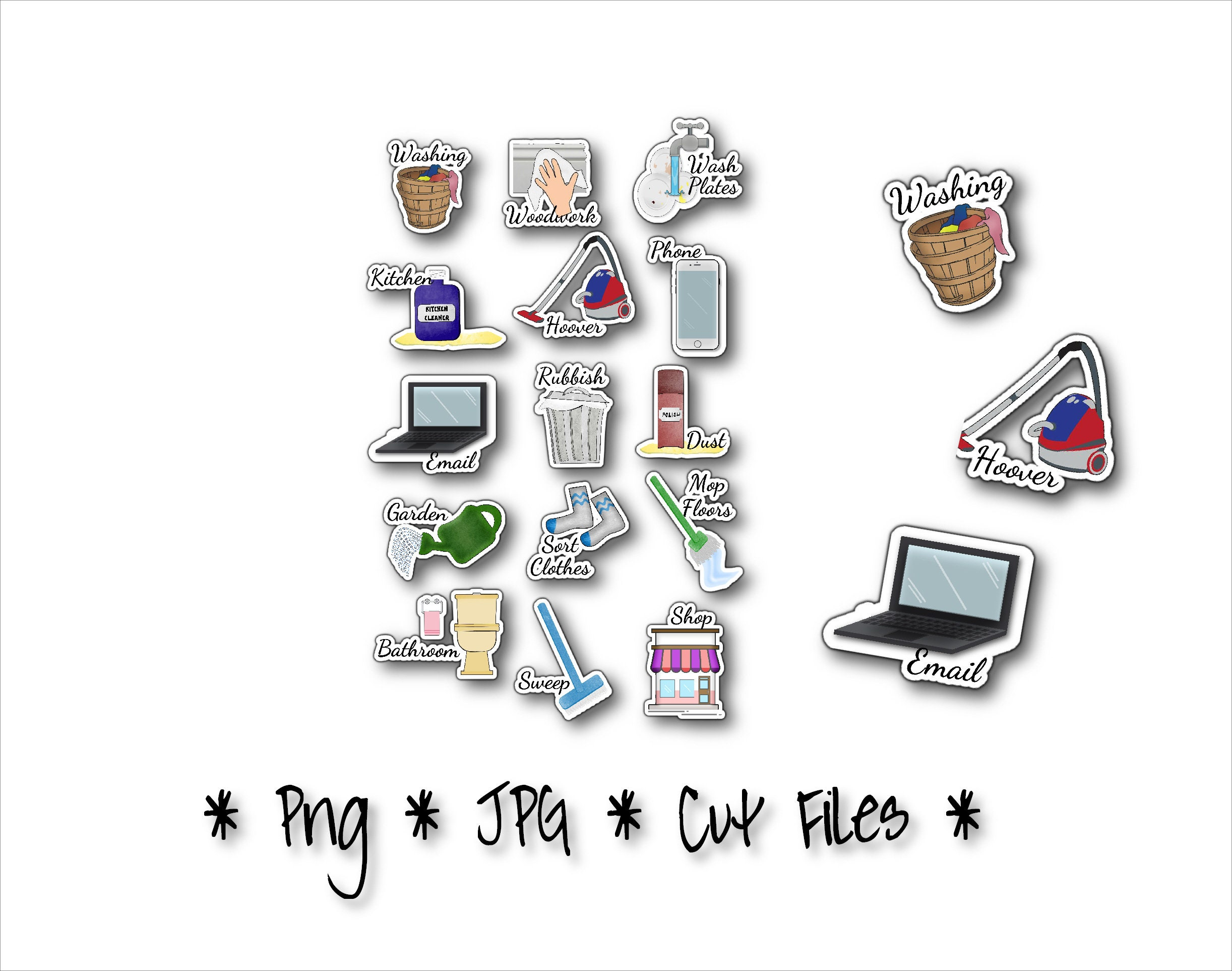 chore planner stickers clipart kids chores weekly jobs