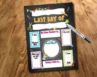 Last Day Sign, Chalkboard, Memory keepsake, Photo Prop, School, Nursery, Pre-K, Digital File, Print at home, School Break, printable