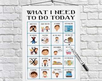 Boys, Routine Chart, kids daily planner, kids routine, visual aid, visual schedule, print at home, Autism, ADHD, dyslexia, printable,