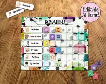 Kids Reward Chart, Editable Routine Chart, Customised Printable, DIY, toddler chart, pre-school charts, visual behaviour chart, kids planner