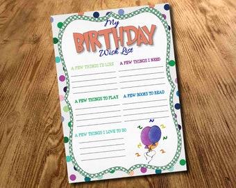 Birthday Gift Wish List, Kids Birthday Letter, Kids present list, Gift List, Birthday Party Gifts, Printable, Download, Digital File
