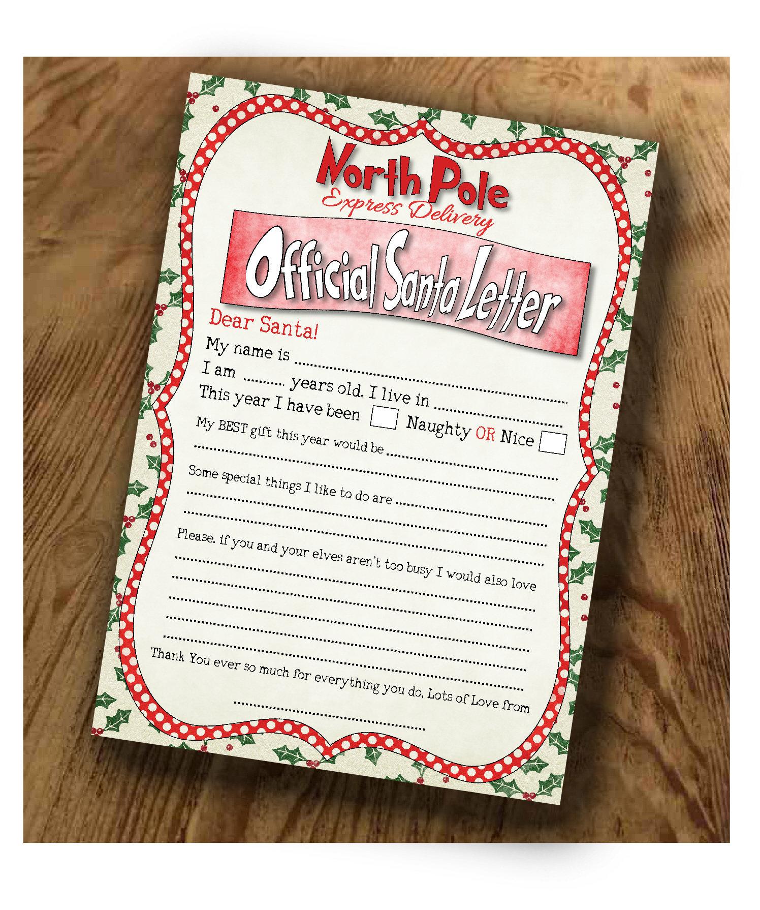 Letter to Santa Claus Kids Christmas Letter Kids Santa | Etsy