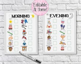 Morning and Evening Routine Charts, Editable Reward Chart, DIY, toddler chart, visual schedule, kids checklist, kids planner, Autism, Agenda
