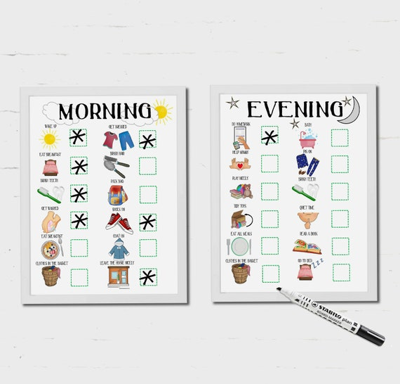 kids morning routine kids evening routine bed time routine etsy