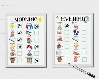 Kids Morning Routine, Kids Evening Routine, Bed time routine, Daily Planner, printable, Autism, ADHD, kids checklist, Toddlers, PECS