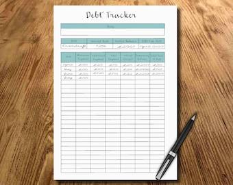 Debt Payment Planner, Printable page, Debt Tracker, budget planner, debt free, Financial Planner, instant download, digital file