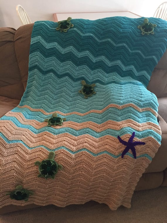 Sea Turtle Blanket Crochet Sea Turtle Blanket Etsy