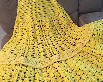 Princess Belle Blanket, Crochet Princess Blanket, Crochet Princess Dress Blanket, Ceochet Belle Dress Blanket