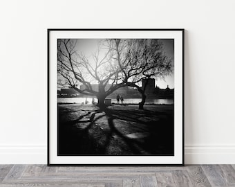 Black and white photography print capturing winter cityscape, Budapest wall art, Street photography, Gift from Hungary, Office decor