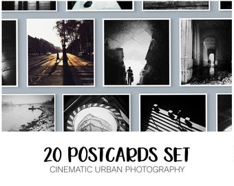 20 Postcard Set, Black and White Postcards, Square Postcards Package, Street Photography, Gift from Hungary, Budapest Wall Art