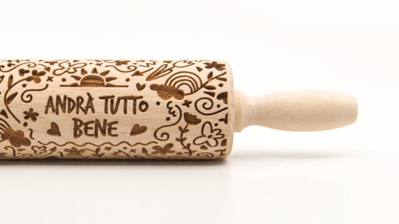 Andrà tutto bene (Italy) - Embossing Rolling pin, engraved rolling pin (no. 340)
