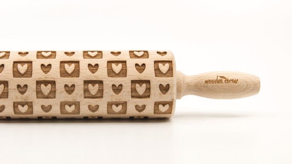 HEARTS & SQUARES - Embossing Rolling pin, engraved rolling pin (no. 265)