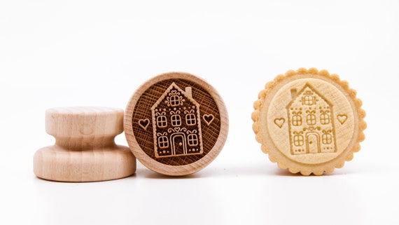 No. 015 Wooden stamp deeply engraved Gingerbread house, Merry Christmas, Christmas gift, Wooden Toys, Stamp, Baking Gift, fairy-tale house