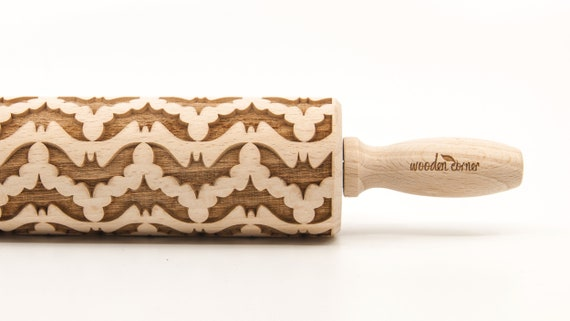 BATS Rolling pin, engraved rolling pin for cookies and art (No. 54)