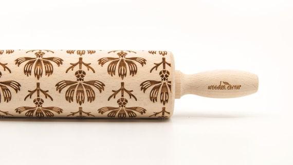 CORNFLOWERS - Embossing Rolling pin, engraved rolling pin (no. 331)