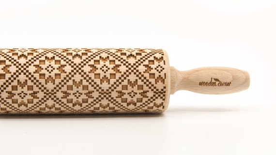NORWEGIAN PATTERN 3 - Embossing Rolling pin, engraved rolling pin (no. 271)