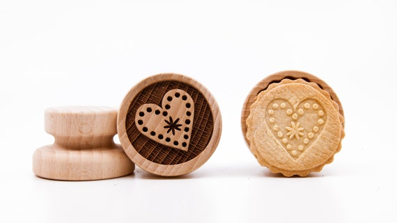 No. 067 Wooden stamp deeply engraved Heart, Christmas, Christmas gift, Wooden Toys, Stamp, Baking Gift, Christmas tree