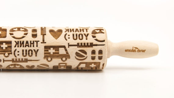MEDICAL - THANK YOU! Embossing Rolling pin, engraved rolling pin (no. 342)
