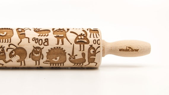 FUNNY MONSTERS  - Embossing Rolling pin, engraved rolling pin (no. 330)