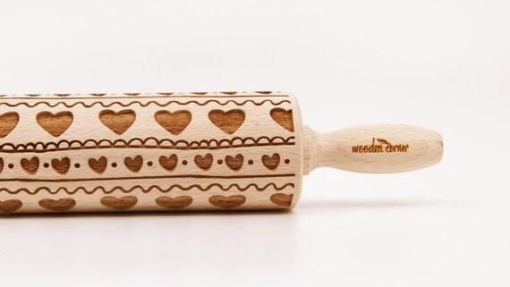FOLK HEART PATTERN -  Embossing rolling pin, engraved rolling pin
